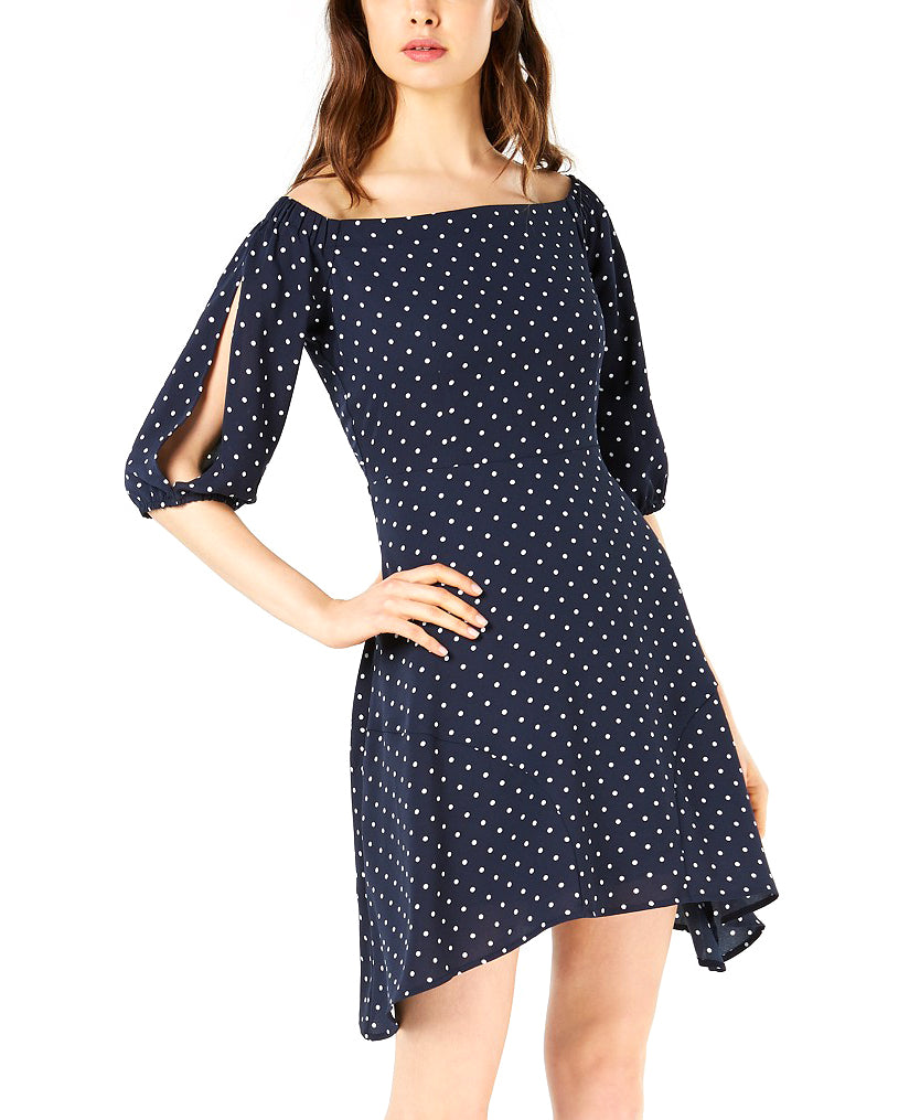 Yieldings Discount Clothing Store's Midnight Dots Polka Dot Off The Shoulder Dress by Bar III in NB Favorite Dot