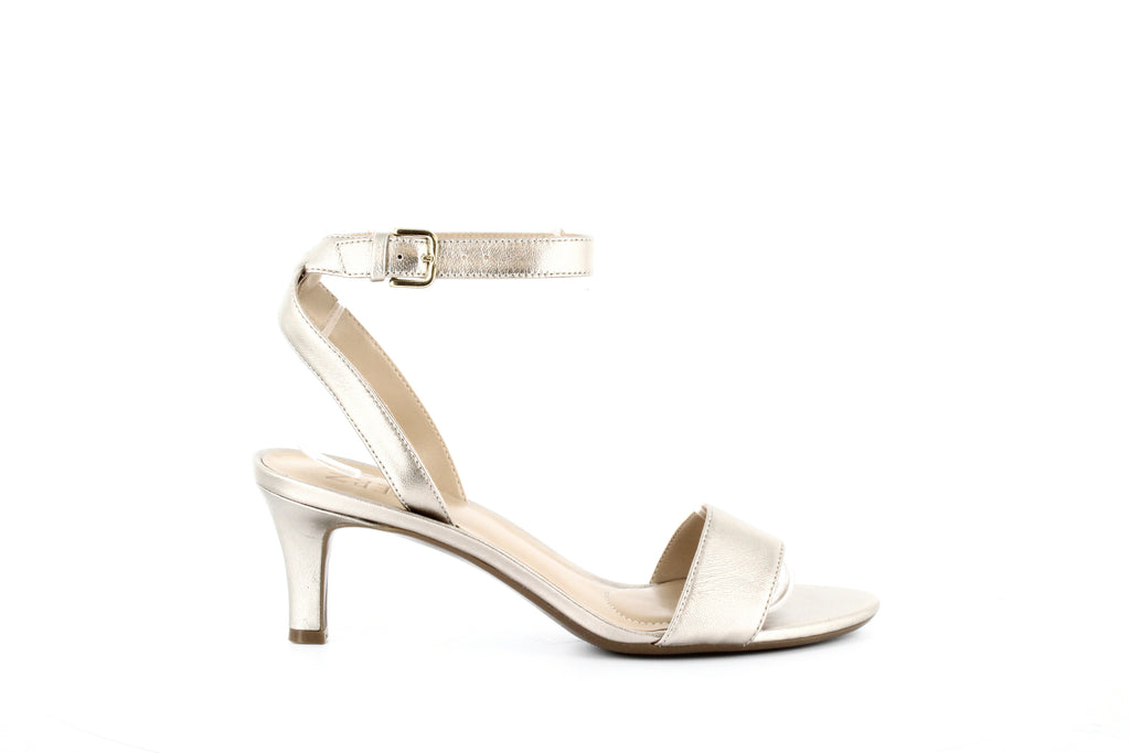 Yieldings Discount Shoes Store's Tinda Leather Heel Sandals by Naturalizer in Gold