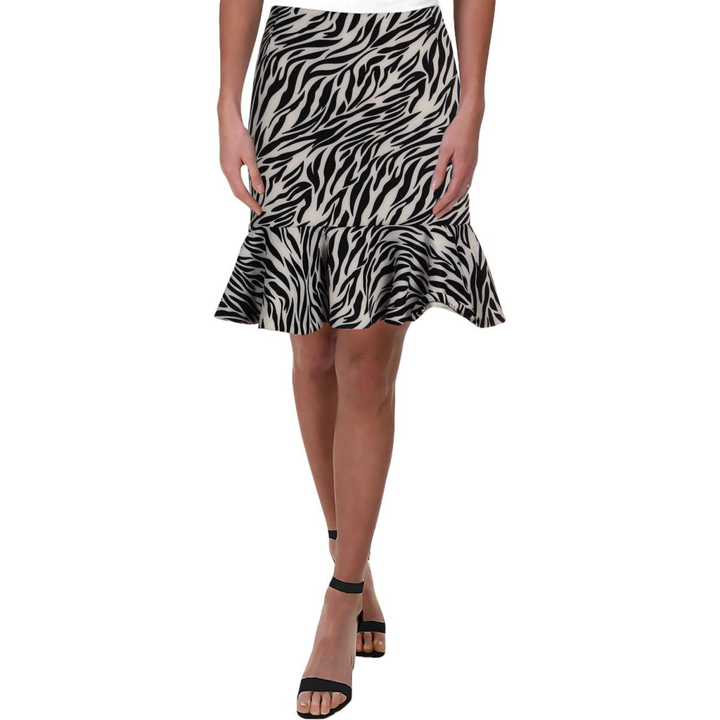 Yieldings Discount Clothing Store's Animal Print Mini Flounce Skirt by Aqua in White/Black