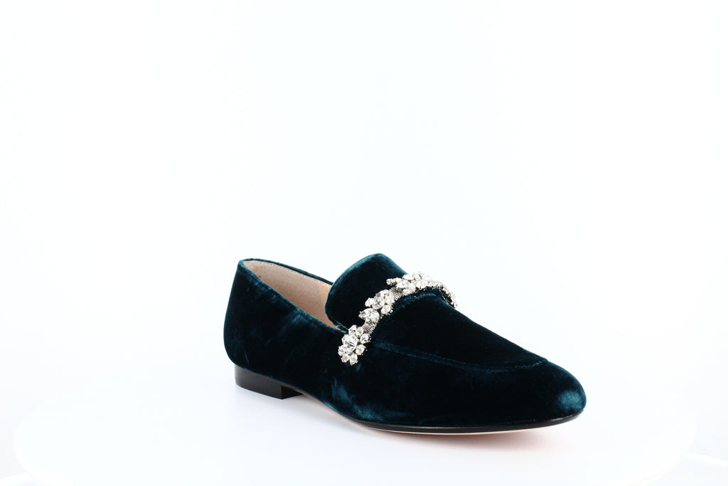 Yieldings Discount Shoes Store's Wareen 2 Velvet Jeweled Fashion Loafers by Ivanka Trump in Medium Blue