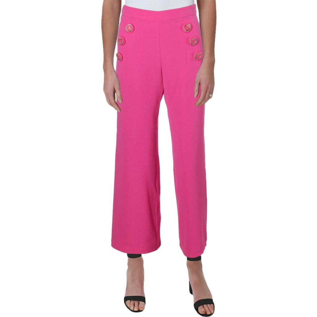 Yieldings Discount Clothing Store's Ahoy High Rise Embellished Cropped Pants by Julie Brown in Hot Pink