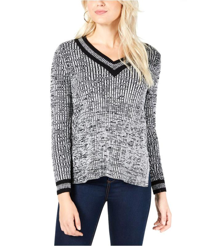 Yieldings Discount Clothing Store's Varsity Sweater Vneck Pullover by Maison Jules in Marl Deep Black