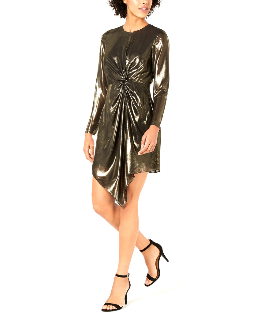Yieldings Discount Clothing Store's Cara Twist-Front Metallic Dress by Lucy Paris in Gold