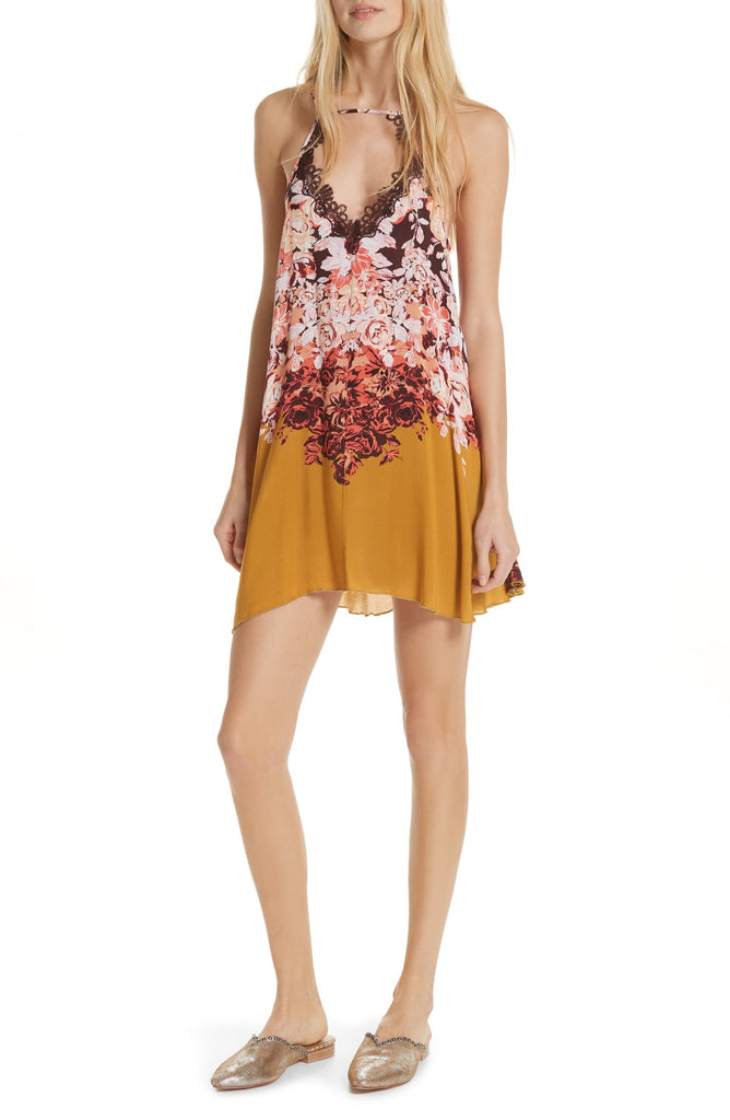 Yieldings Discount Clothing Store's Floral Haze Printed Mini Slip On by Free People in Ochre Combo