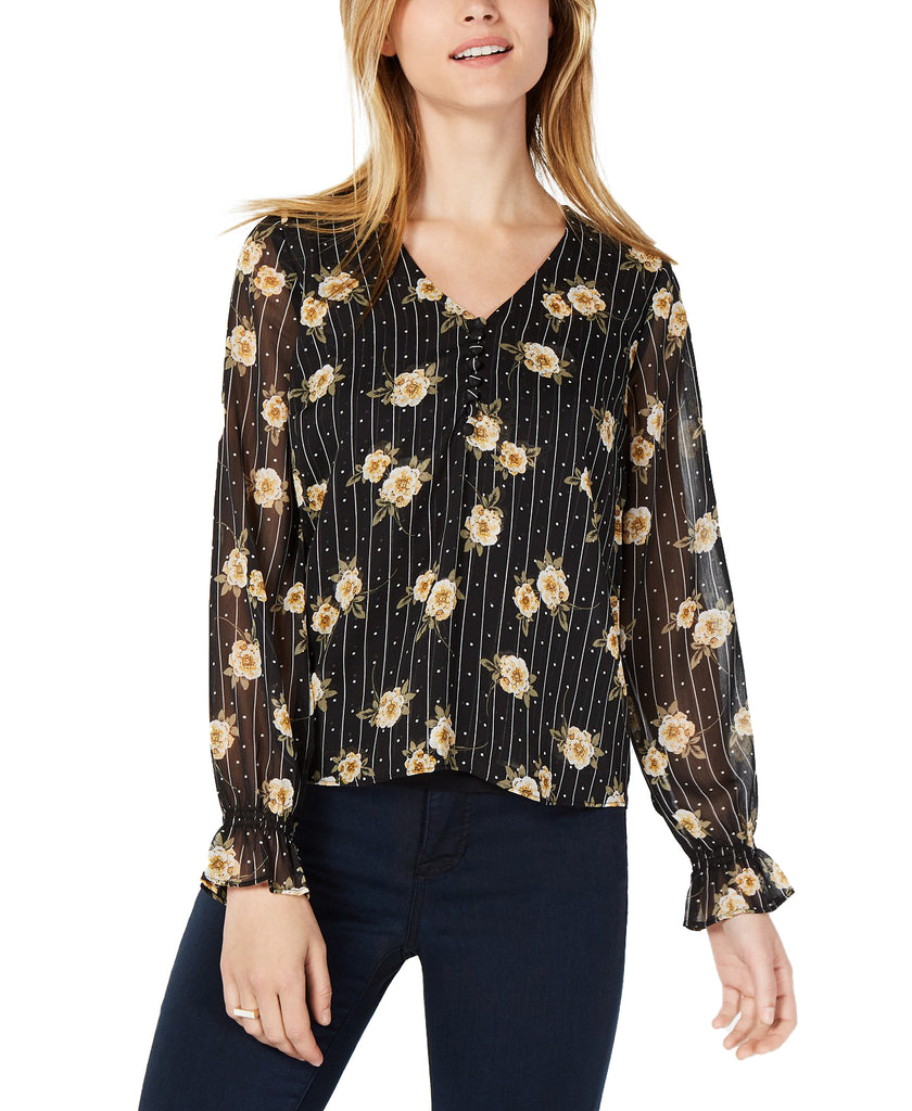Yieldings Discount Clothing Store's Varsity Floral Print Sheer Sleeve Blouse by Maison Jules in Black
