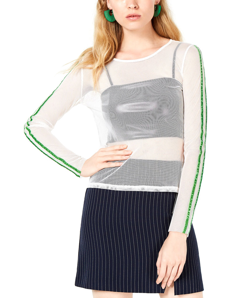 Yieldings Discount Clothing Store's Long Sleeve Mesh Top by Project 28 in White