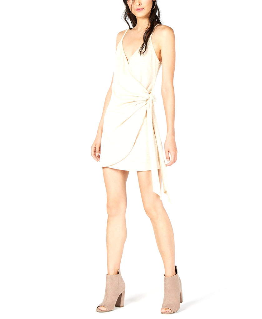 Yieldings Discount Clothing Store's Wrap Mini Dress by Sage the Label in Tan