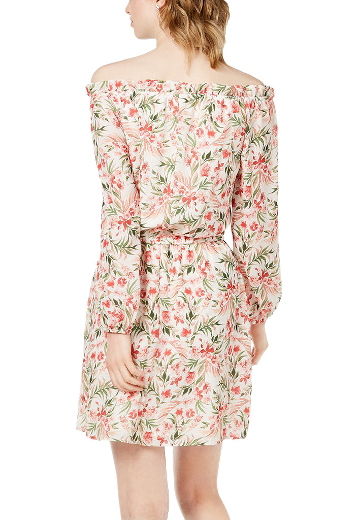 Yieldings Discount Clothing Store's Floral Print Off-The-Shoulder Casual Dress by Maison Jules in Bright White
