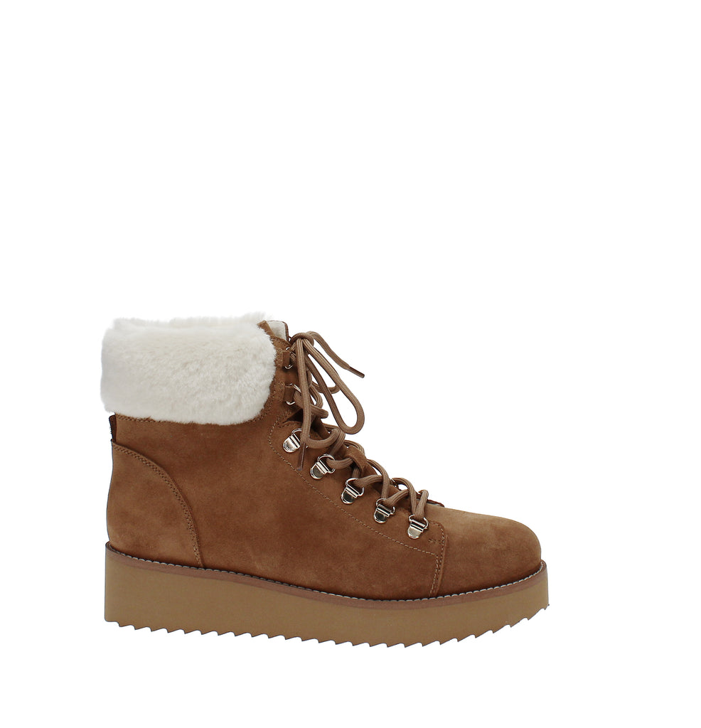 Yieldings Discount Shoes Store's Franc Shearling Booties by Sam Edelman in Camel Suede