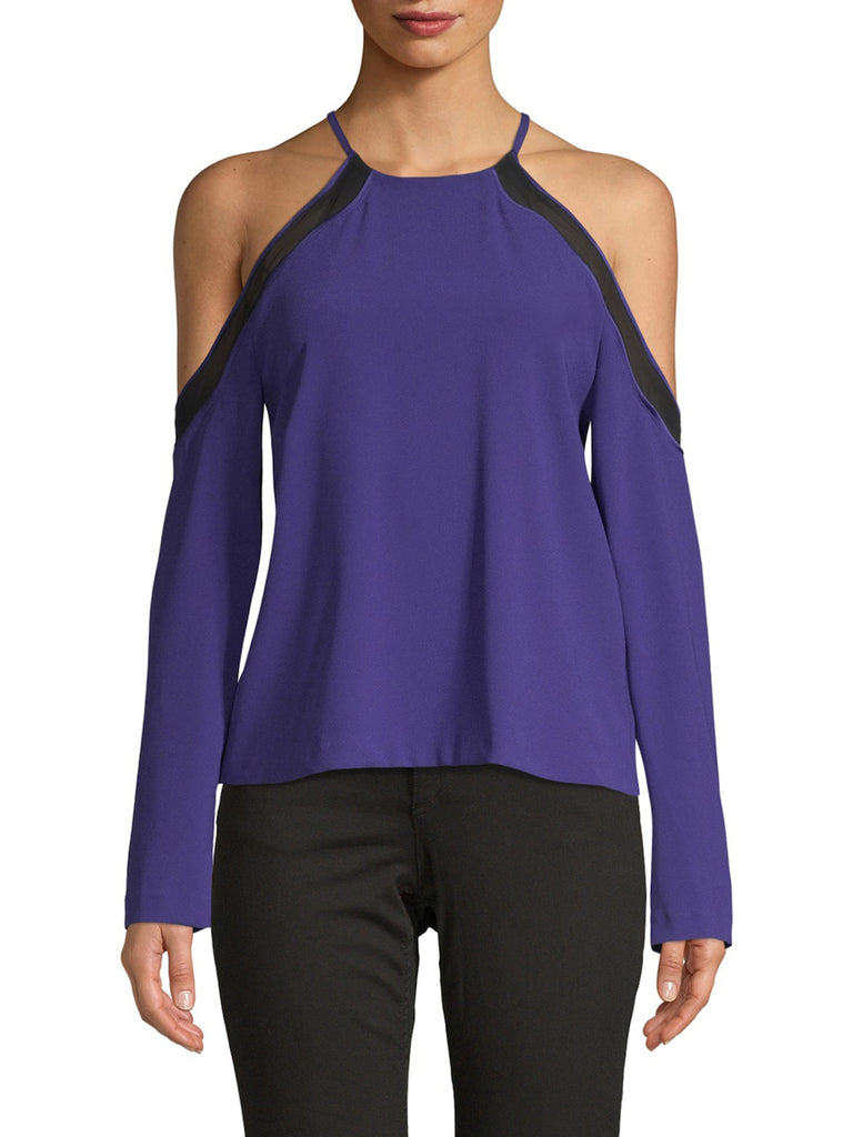 Yieldings Discount Clothing Store's Anya Cold-Shoulder Blouse by Ramy Brook in Deep Amethyst
