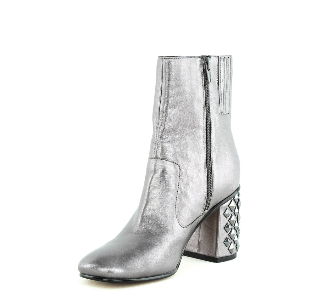 Yieldings Discount Shoes Store's Madeup Leather Square Toe Boot by Guess in Pewter