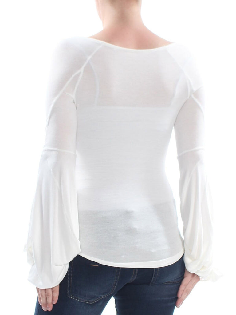Yieldings Discount Clothing Store's To The Tropics Twist Sleeve Long Sleeve Top by Free People in Ivory