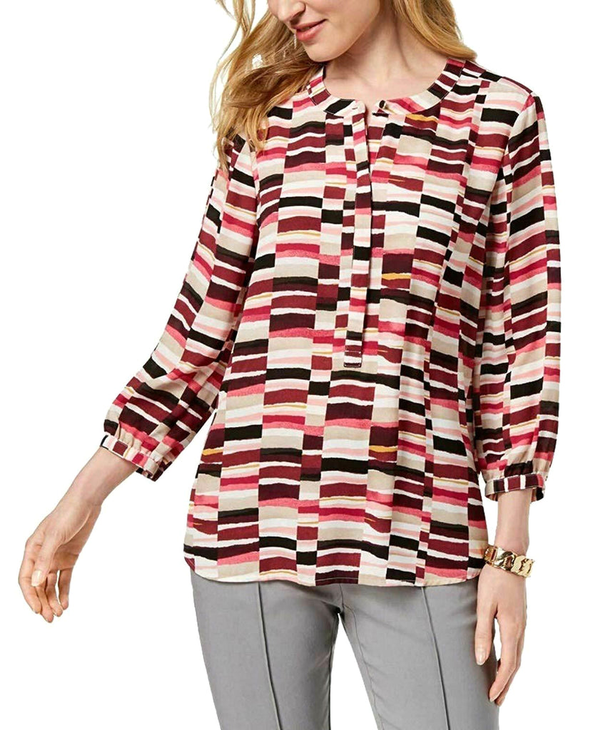 Yieldings Discount Clothing Store's Printed 3/4 Sleeves Blouse by JM Collection in Rianna Rectangle