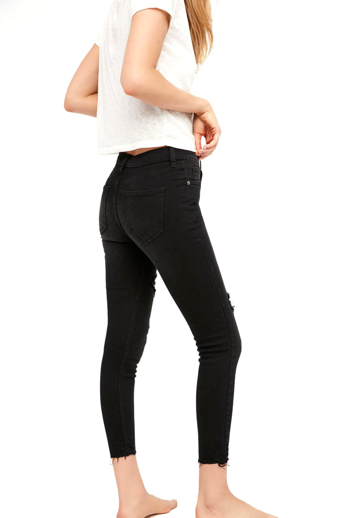 Yieldings Discount Clothing Store's Shark Bite Skinny Jeans by Free People in Black
