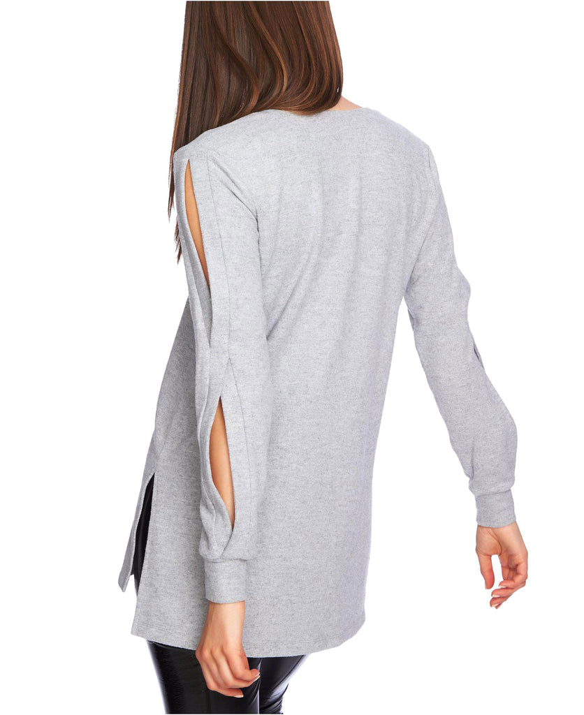 Yieldings Discount Clothing Store's Cozy Split-Sleeve V-Neck Top by 1.State in Grey