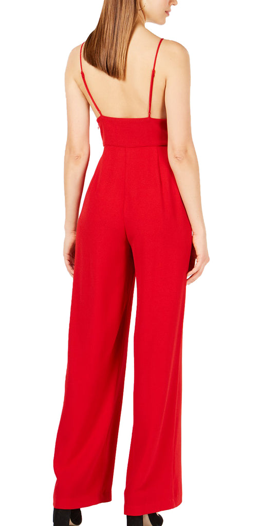 Yieldings Discount Clothing Store's Deep-V Jumpsuit by Leyden in Red
