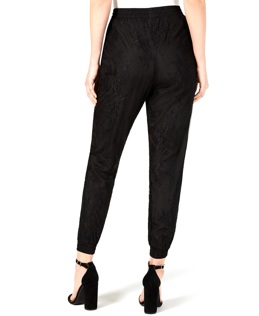 Yieldings Discount Clothing Store's Somerset Lace Jogger Pants by Leyden in Black Lace