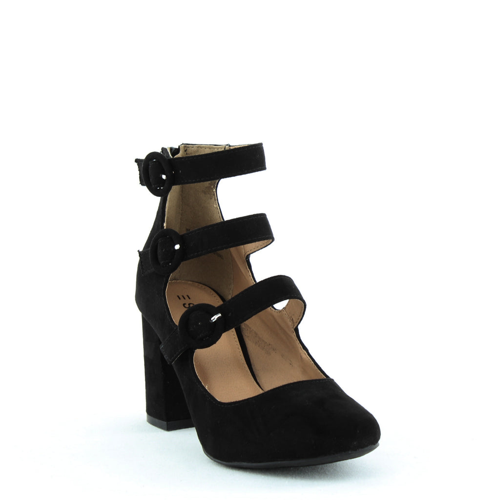 Yieldings Discount Shoes Store's Lucy Buckle Ankle Strap Pumps by Esprit in Black
