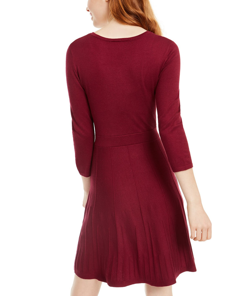 Yieldings Discount Clothing Store's Fit & Flare Sweater Dress by BCX in Bordeaux