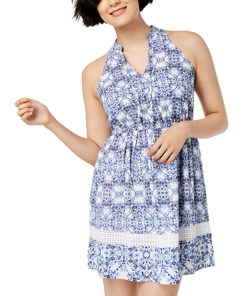Yieldings Discount Clothing Store's Geo-Print Halter Dress by Maison Jules in Bright White