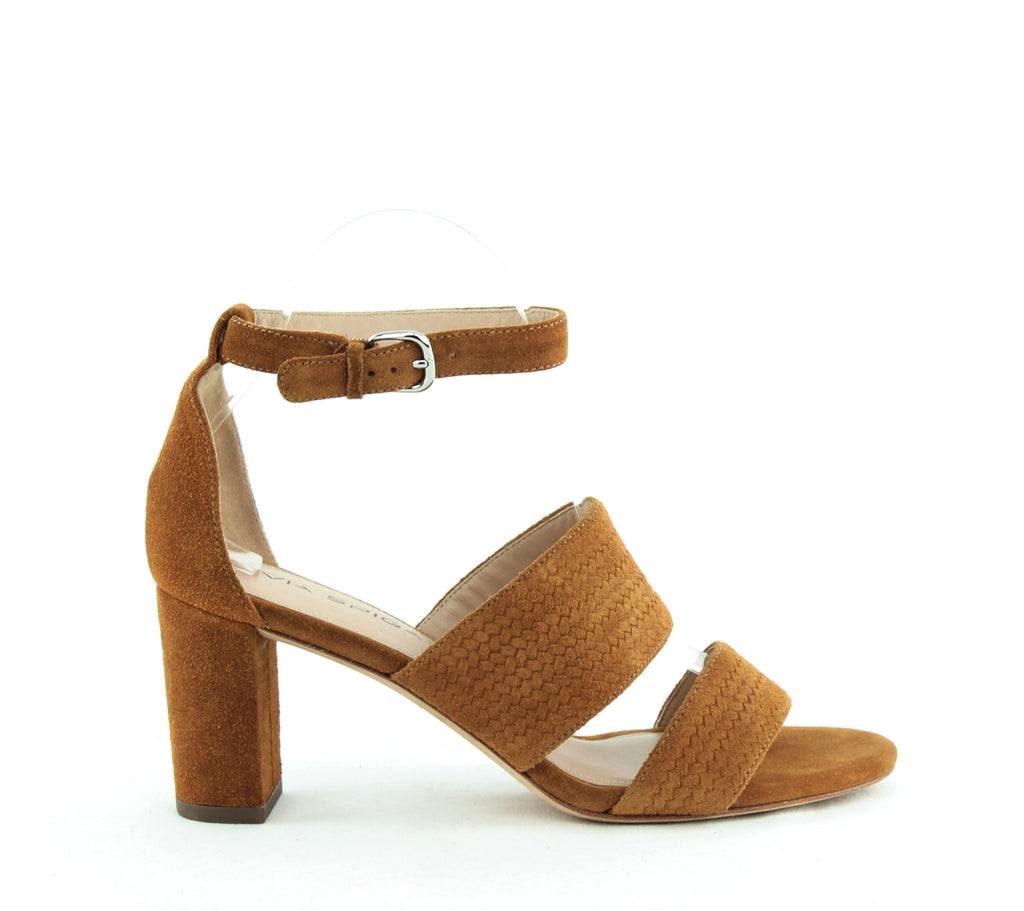 Yieldings Discount Shoes Store's Wendolin Block Heel Sandals by Via Spiga in Tawny