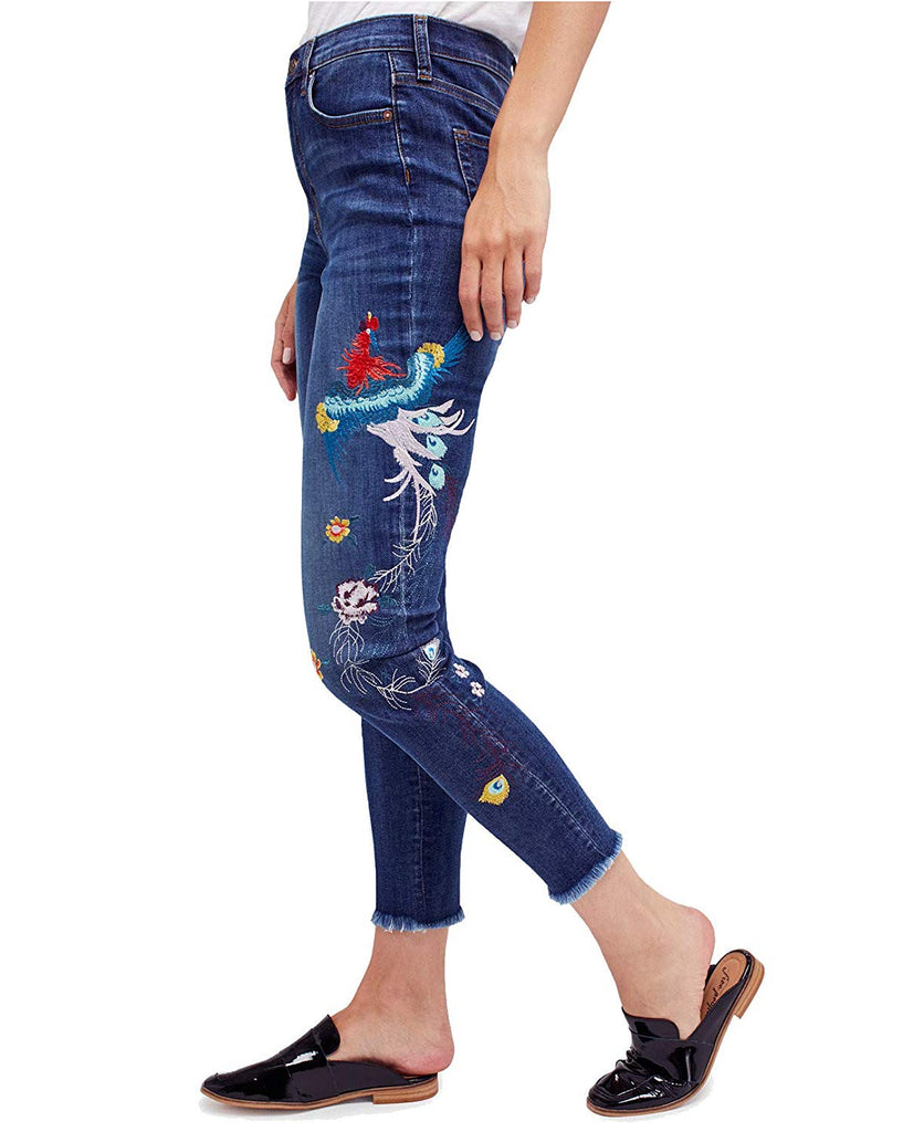 Yieldings Discount Clothing Store's Embroidered Ankle Skinny Jeans by Free People in Blue