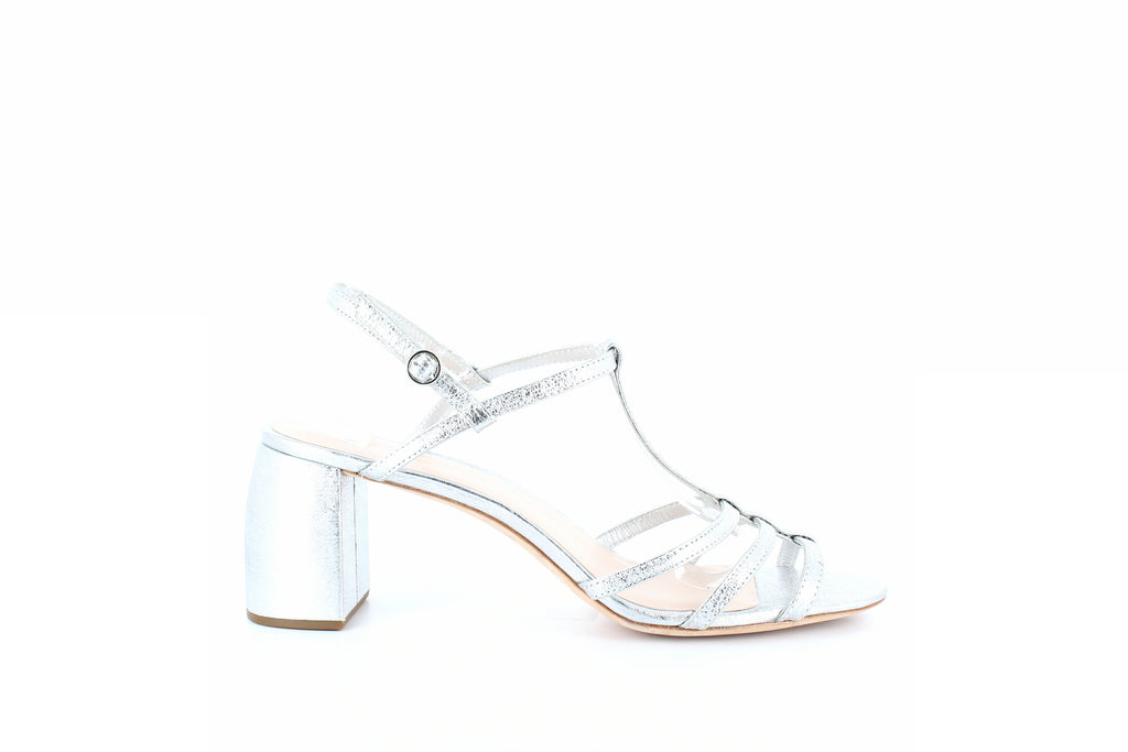 Yieldings Discount Shoes Store's Elena Block Heel Sandals by Loeffler Randall in Silver