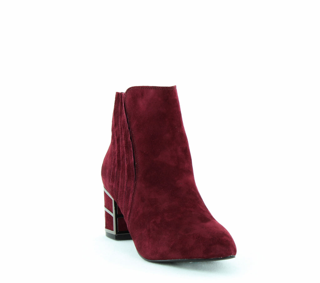 Yieldings Discount Shoes Store's Bennett Block Heeled Ankle Booties by STEVEN By Steve Madden in Burgundy Suede