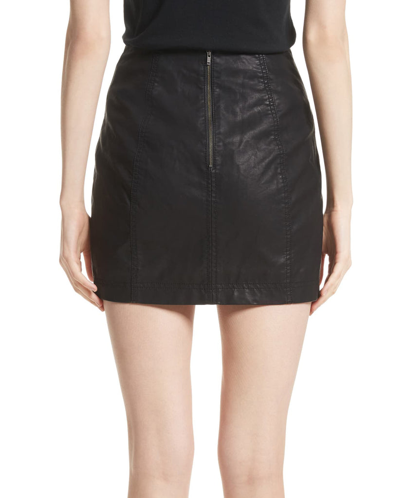 Yieldings Discount Clothing Store's Modern Femme Faux-Leather Mini Skirt by Free People in Black