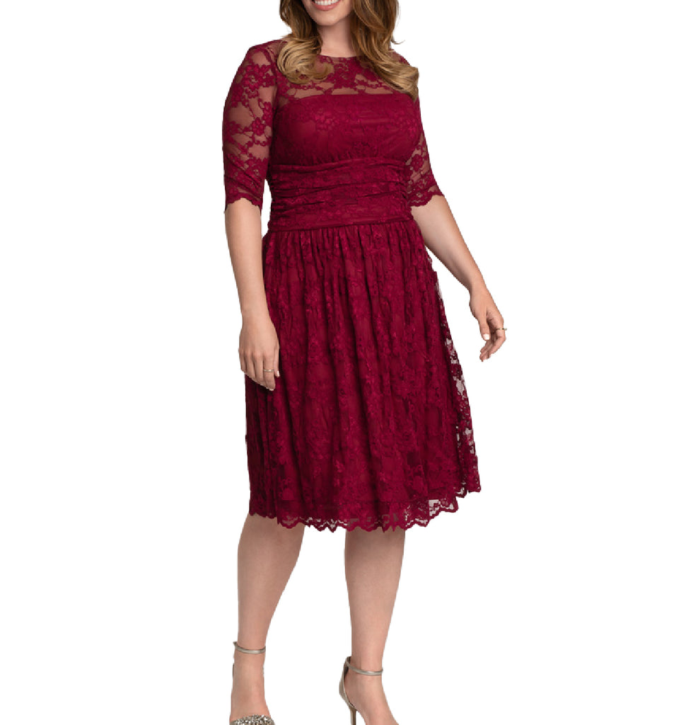 Yieldings Discount Clothing Store's Luna Lace Dress by Kiyonna in Rose