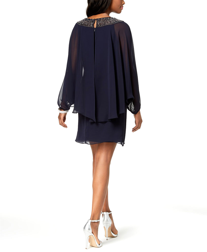 Yieldings Discount Clothing Store's Embellished Chiffon Cape Dress by Xscape in Navy