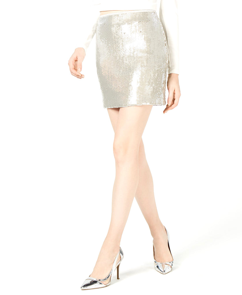 Yieldings Discount Clothing Store's Sequin Midi Skirt by Bar III in Silver