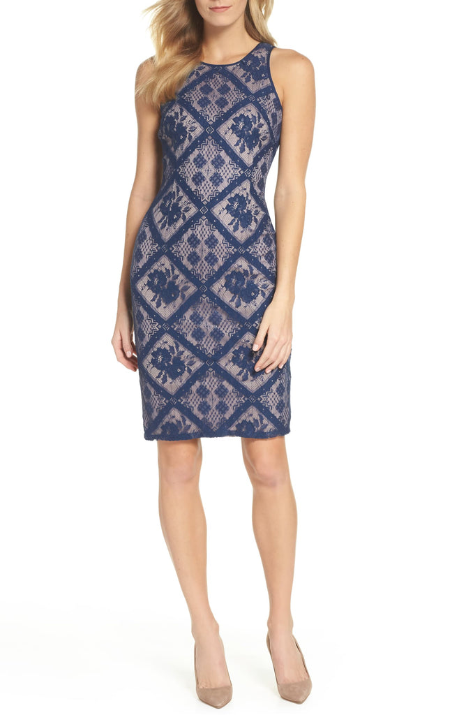 Yieldings Discount Clothing Store's Floral Diamond Lace Cutaway Sheath Dress by Adrianna Papell in Navy Satin