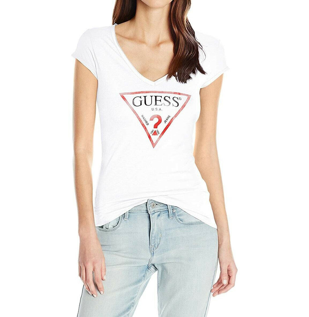 Yieldings Discount Clothing Store's Logo V-Neck T-Shirt by Guess in Brilliant White