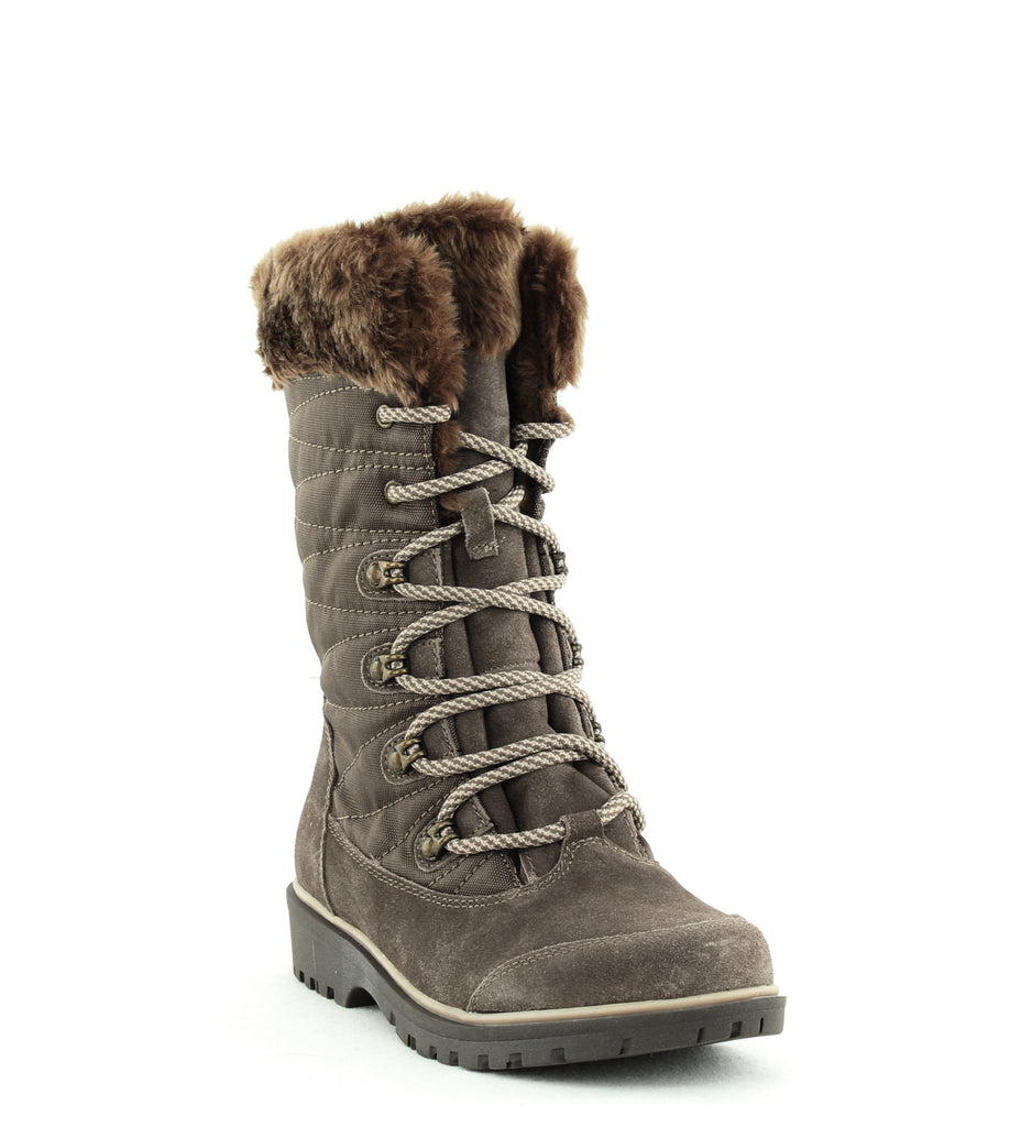 Yieldings Discount Shoes Store's Satin Lace-Up Cold-Weather Boots by Baretraps in Mud