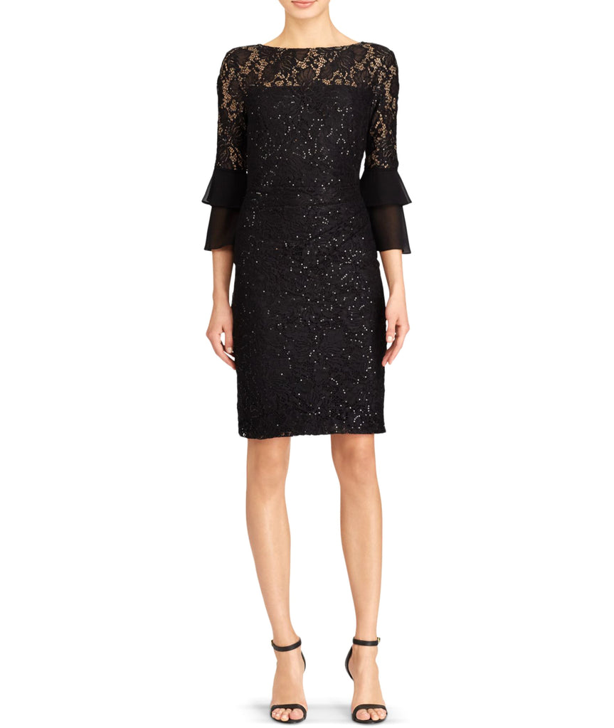 Yieldings Discount Clothing Store's Black Sequined Cocktail Dress by Lauren by Ralph Lauren in Black