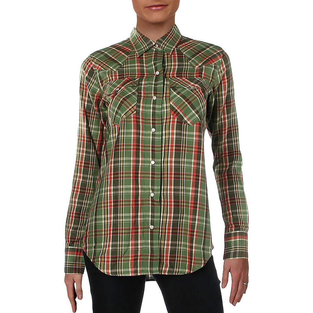 Yieldings Discount Clothing Store's Button-Down Western Top by Lauren by Ralph Lauren in Green