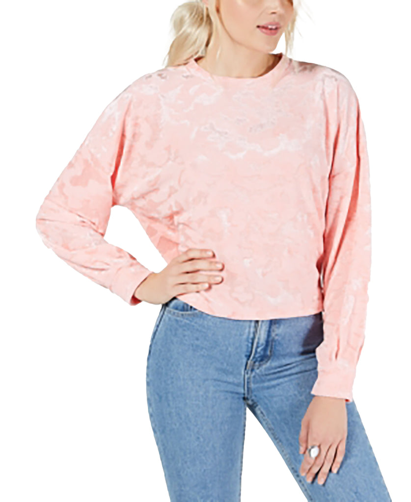 Yieldings Discount Clothing Store's Burnout Velvet Crop Top by Freshman in Seashell Pink