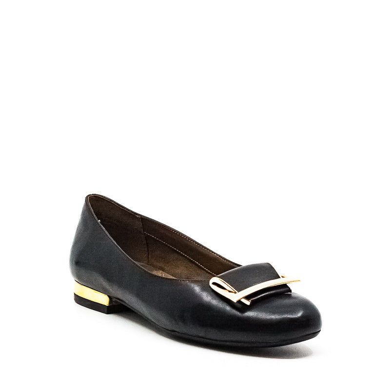 Yieldings Discount Shoes Store's Good Times Wide Leather Flats by Aerosoles in Black