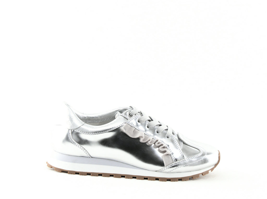 Yieldings Discount Shoes Store's Ruffle Trainer Leather Sneakers by Tory Sport in Silver/Gray