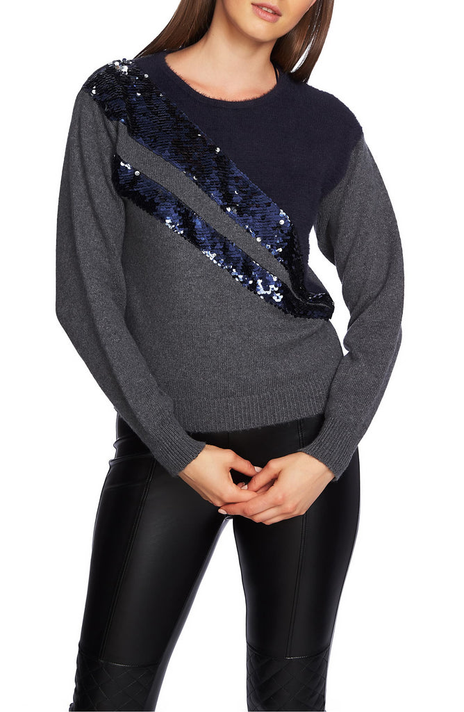 Yieldings Discount Clothing Store's Crew Neck Eyelash Sweater w/ Sequin Detail by 1.State in Medium Heather Grey