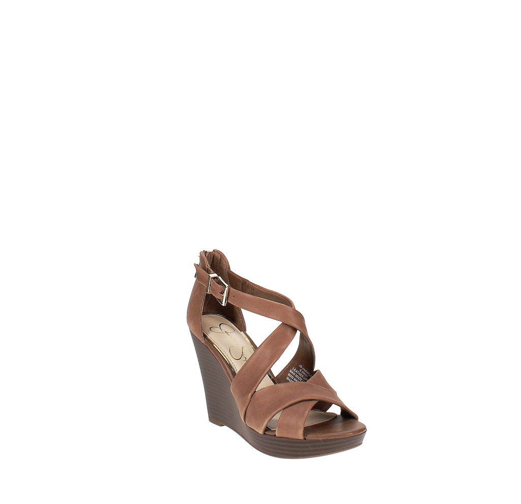 Yieldings Discount Shoes Store's Jakayla Wedge Sandals by Jessica Simpson in Brown