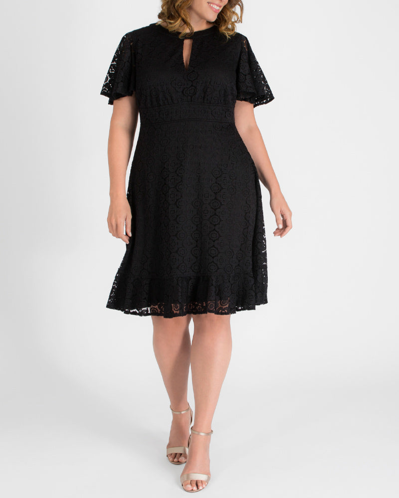 Yieldings Discount Clothing Store's Middleton Lace Dress by Kiyonna in Onyx