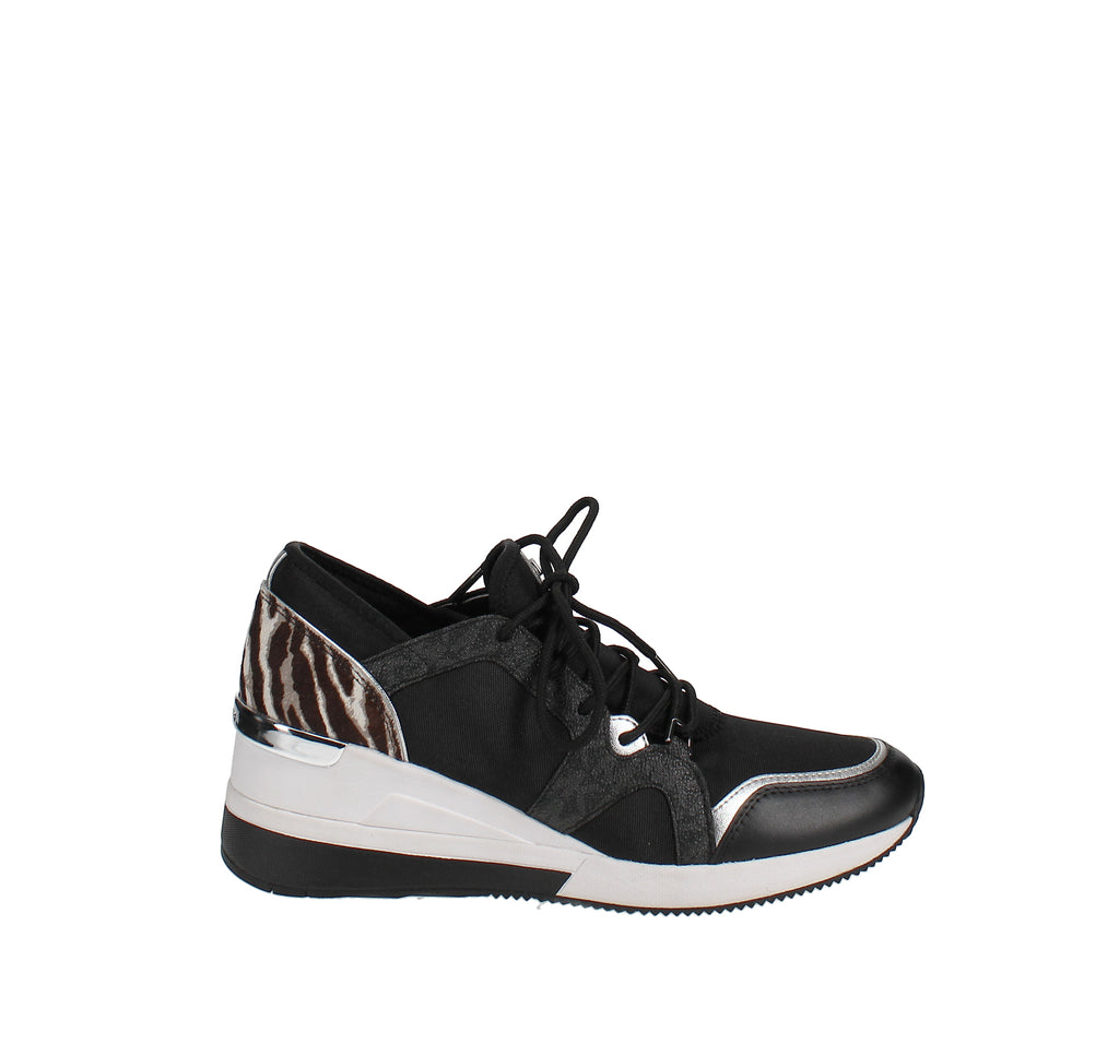 Yieldings Discount Shoes Store's Liv Trainer Wedge Sneakers by MICHAEL Michael Kors in Black/Gun
