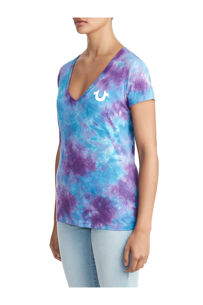 Yieldings Discount Clothing Store's Tie Dye Classic V-Neck T-Shirt by True Religion in Bright Blue/Purple