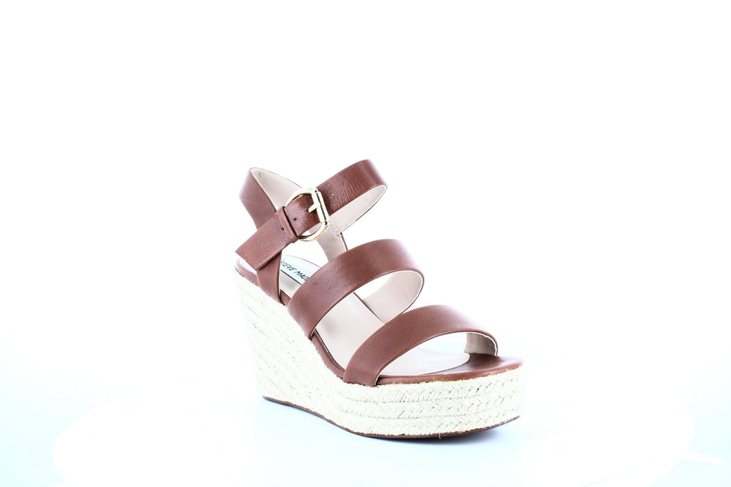 Yieldings Discount Shoes Store's Valery Wedge Sandals by Steve Madden in Cognac