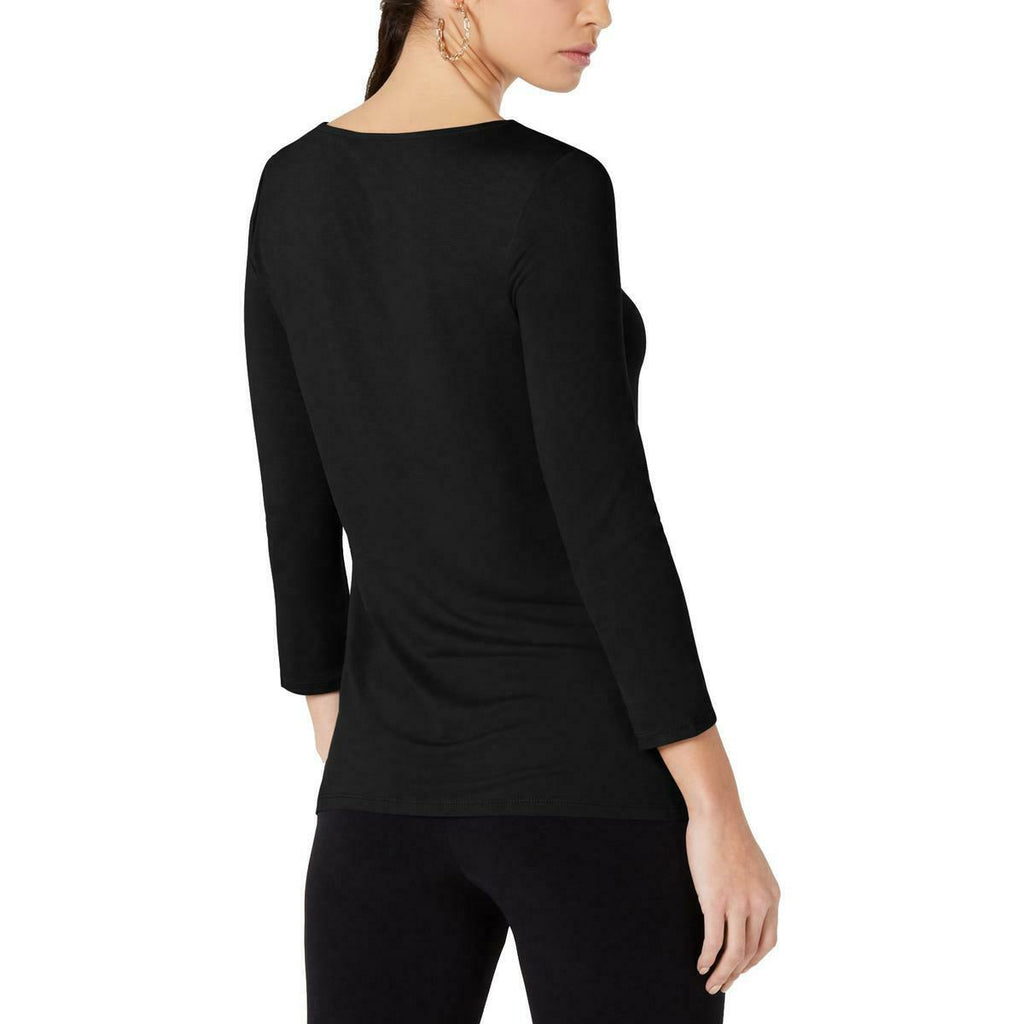 Yieldings Discount Clothing Store's Side-Twist Top by Alfani in Deep Black