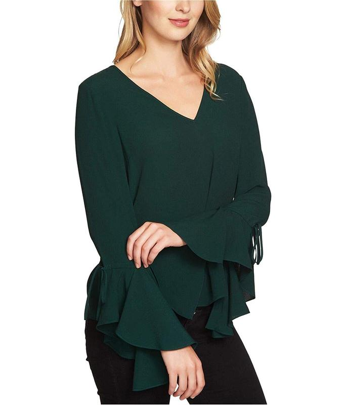 Yieldings Discount Clothing Store's Cascade-Sleeve Top by 1.State in Jasper Green