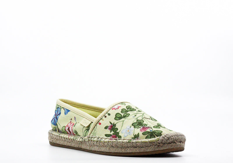 Yieldings Discount Shoes Store's Floral Knight Print Canvas Espadrille Flats by Gucci in Yellow