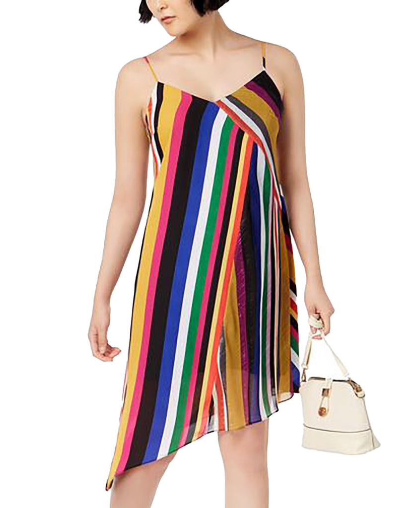 Yieldings Discount Clothing Store's Boho Sunset Rainbow Shine Dress Fantasy Stripe by Bar III in Black/Red/White